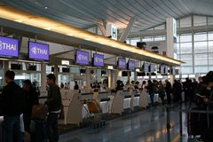 Haneda odprawy Lotniskowy kontuar Zdjęcia Royalty Free