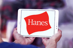 Hanes logo. Logo of fashion company Hanes on samsung tablet stock images