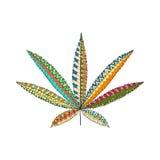 Hanf-Hanf-Blatt in zentangle Art Marihuana Ornamentalschattenbild Lizenzfreie Stockbilder