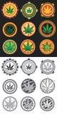 Hanf- und Marihuanaproduktsymbolstempel Stockbilder