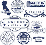 Hanford city, CA. Stamps and signs Royalty Free Stock Photography