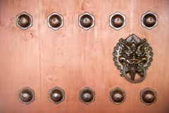 Hang Door Knocker Metal  in Nunnery temple, Hong Kong. Stock Image