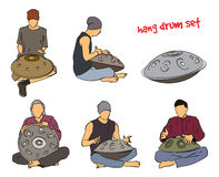 Hang drum musician set. Musician playing hang drum. Vector silhouette set on white background Stock Images