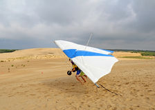 Hang glide student takes off on sand dunes in North Carolina Stock Images
