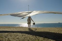 Hang Glider. A hang glider prepares for take off Royalty Free Stock Images