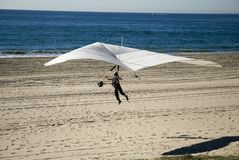 Hang Glider 2. A man is hang gliding at the beach Royalty Free Stock Image