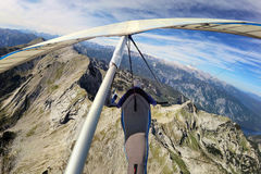 Hang glider above Krn mountain Royalty Free Stock Images