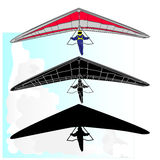 Hang Glider flying vector Stock Images