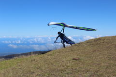 Hang Glider at Maui Hawaii. A hang glider running to jump off the side of Haleakala volcano on the tropical island of Maui, Hawaii royalty free stock images