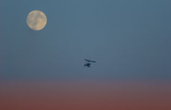 Hang glider and moon Royalty Free Stock Photography