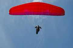 Hang Glider overhead. Hang glider soaring directly overhead Stock Photography