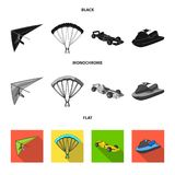 Hang glider, parachute, racing car, water scooter.Extreme sport set collection icons in black, flat, monochrome style. Vector symbol stock illustration Stock Photos