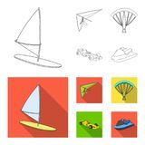 Hang glider, parachute, racing car, water scooter.Extreme sport set collection icons in outline,flat style vector symbol. Stock illustration Royalty Free Stock Images