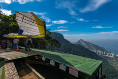 Hang Glider Prepares to Take Off Royalty Free Stock Images