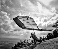 Hang Glider Running for Take Off Black and White Image Stock Photo