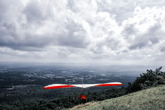 Hang Glider Running for Take Off Royalty Free Stock Image