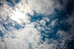 Hang glider sky. Clouds sun Stock Images