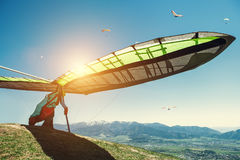 Hang-glider starting to fly Royalty Free Stock Image
