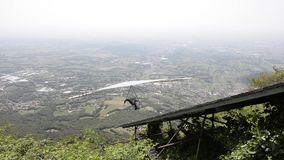 Hang Glider take-off on Monte Grappa stock video footage