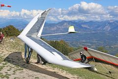 Hang Gliders at the Chabre Royalty Free Stock Images