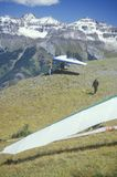 Hang gliders at edge of cliff during Hang Gliding Festival, Telluride, Colorado Stock Photography
