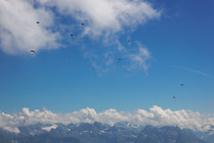 Hang gliders over Central Switzerland, Europe Stock Photography