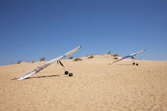 Hang Gliders in Sand Dunes Royalty Free Stock Images