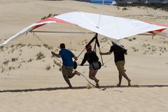 Hang-Gliding. Learning to Hang-Glide on Jockey's Ridge State Park in the Outer Banks Royalty Free Stock Photography