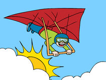 Hang Gliding Adventure. Cartoon image of person hang gliding Stock Photography