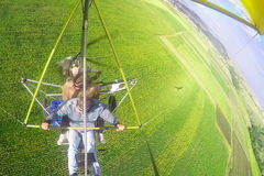 Hang Gliding as extreme and fun sport. Royalty Free Stock Photography