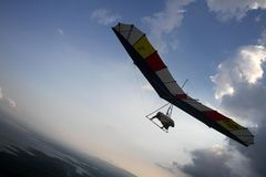 Hang gliding. Athlete fly in the skies in national hang gliding championship in wonogiri, central java, indonesia Stock Image