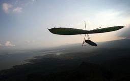 Hang gliding. Athlete fly in the skies in national hang gliding championship in wonogiri, central java, indonesia Stock Photo