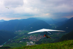 Hang gliding competitions  over Kobala mountain Royalty Free Stock Images