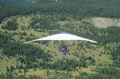 Hang Gliding Festival,. Aerial view of Hang Glider in mid air during Hang Gliding Festival, Telluride, Colorado Stock Photography