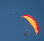 Hang gliding in the sky Stock Images
