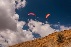 Hang gliding in the sky Royalty Free Stock Photo
