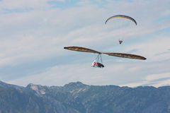 Hang gliding in Swiss Alps Stock Images