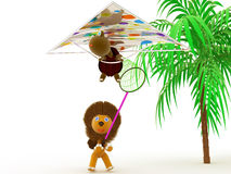 Hang gliding, tortoise and lion. Hang gliding at the flying turtle and lion catches her butterfly net Stock Photos