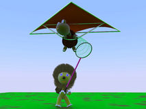 Hang gliding, tortoise and lion Royalty Free Stock Image