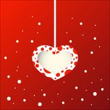 Hang heart and snow with blank note for love and valentine`s day. A hang heart in snow for love and valentine`s day Stock Photos