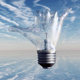 Hang Loose. Gesture Light Bulb. 3D render Royalty Free Stock Photography