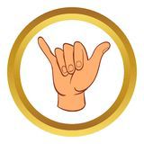 Hang loose hand gesture vector icon, cartoon style Royalty Free Stock Images