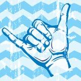 Hang Loose Hand Signal. Surf hand sign Stock Photo
