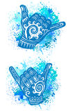 Hang Loose Hand Signal. Surf hand sign Royalty Free Stock Images