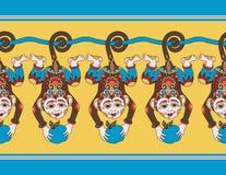 Hang monkey seamless ribbon pattern  with a Royalty Free Stock Image