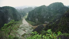 Hang Mua Rice Fields Landscape In Ninh Binh, Vietnam. 4k stock video footage