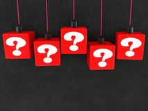Hang on red cubes with question marks concept. In background royalty free illustration