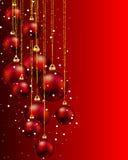 Hang rode Kerstmisballen en sneeuw Royalty-vrije Stock Afbeelding
