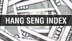 Hang Seng Index Closeup Concept Amerikanische Dollar des Bargeld-, Wiedergabe 3D Hang Seng Index an der Dollar-Banknote Finanz-US lizenzfreie abbildung