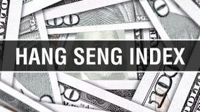 Hang Seng Index Closeup Concept Dollars américains d'argent d'argent liquide, rendu 3D Hang Seng Index au billet de banque du dol illustration libre de droits